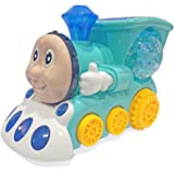 Popsugar Musical Bump and Go Smiley Train with Flashing Lights, Green