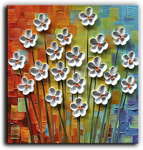 Kate Art Paintings 3D White Floral 100 Hand-Painted Oil Painting on Canvas Abstract Artwork Wall Art for Home Decorations Stretched and Framed Ready to Hang 24×24 inch