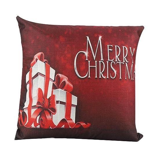 Socialme-EU 18x18 Pulgadas Funda de Almohada de Navidad Caja de Regalo de Lino Papá Noel Muñeco de Nieve Reno de Arbol de Navidad Cojín (# 1)