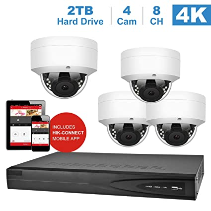 【Audio】 Anpviz 5MP IP PoE Home Security Camera Systems 8 Channel 4K H 265+  Onvif NVR (Compatible with Hikvision DS-7608NI-K1/8P) with 2TB HDD 4pcs