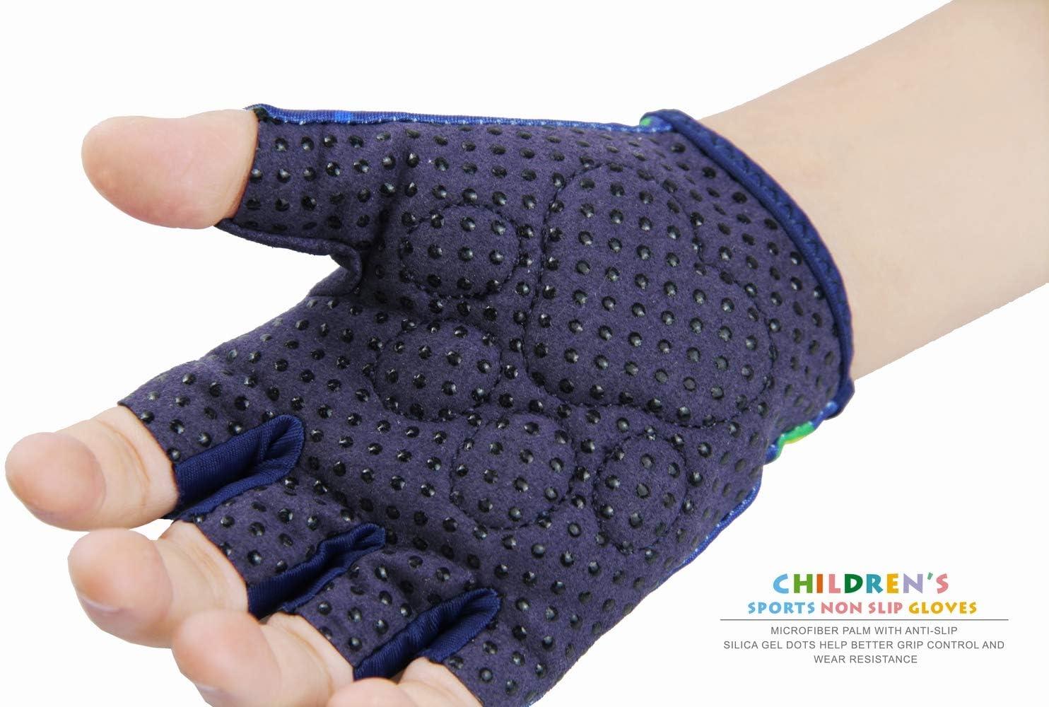 Kids Half-Finger Monkey Bar Gloves for Age 1-9 Boys Girls Climbing Biking Good Grip Control Gloves for Gymnastics Balance Boards Outdoor Sports