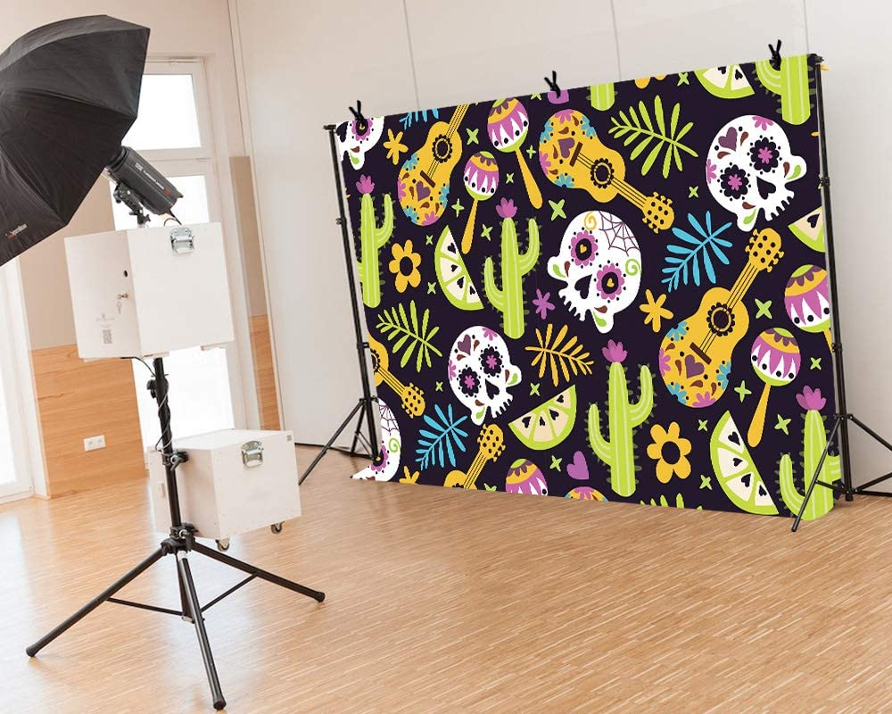 LYLYCTY 7x5Ft Carnival Backdrop Cactus Guitar Leaf Flower Photography Background Vinyl Theme Party Banner Photo Shooting Props Backgrounds LYZY1059