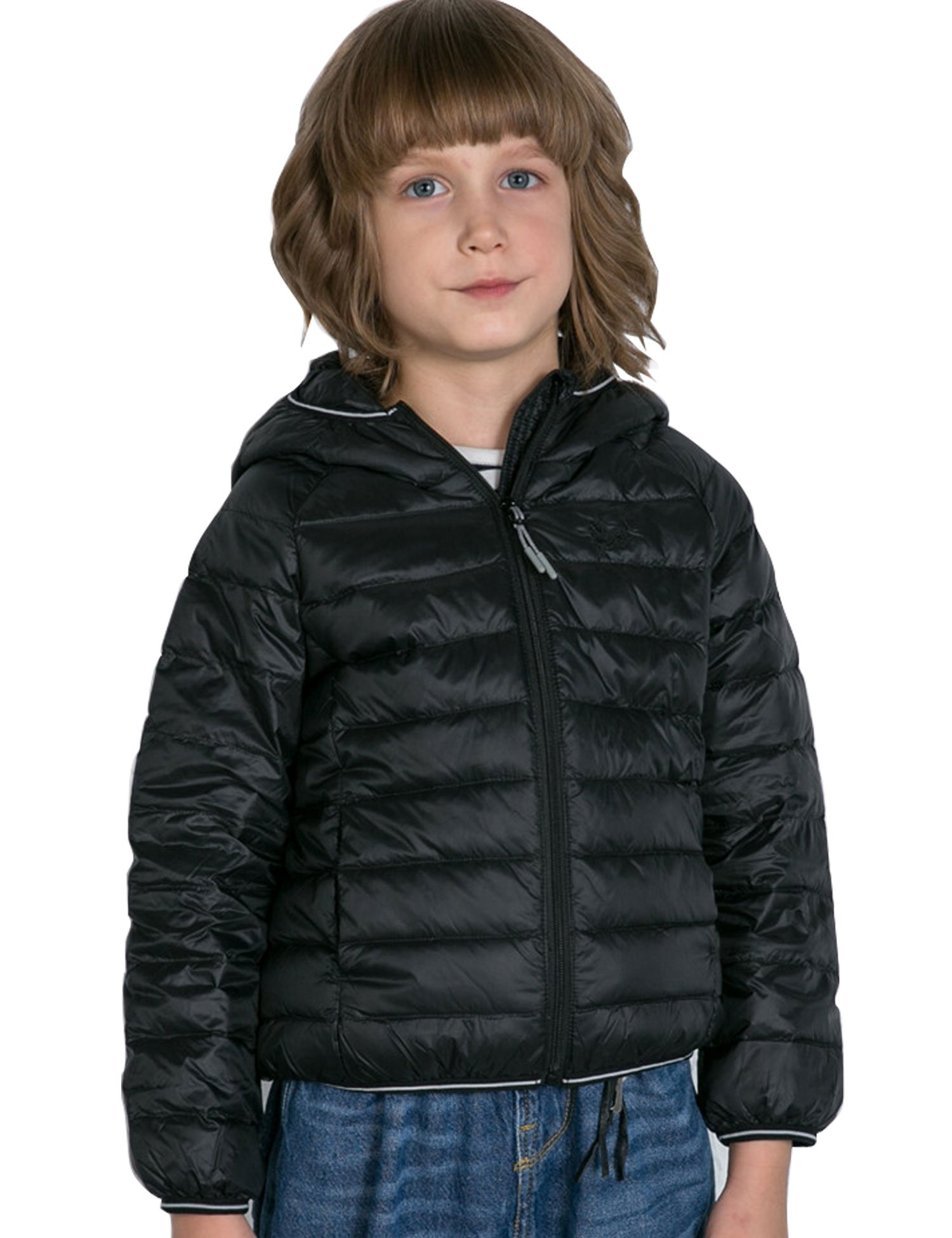 CHERRY CHICK Kid's Ultralight Packable Down Hooded Jacket (60 in, Black-LD)