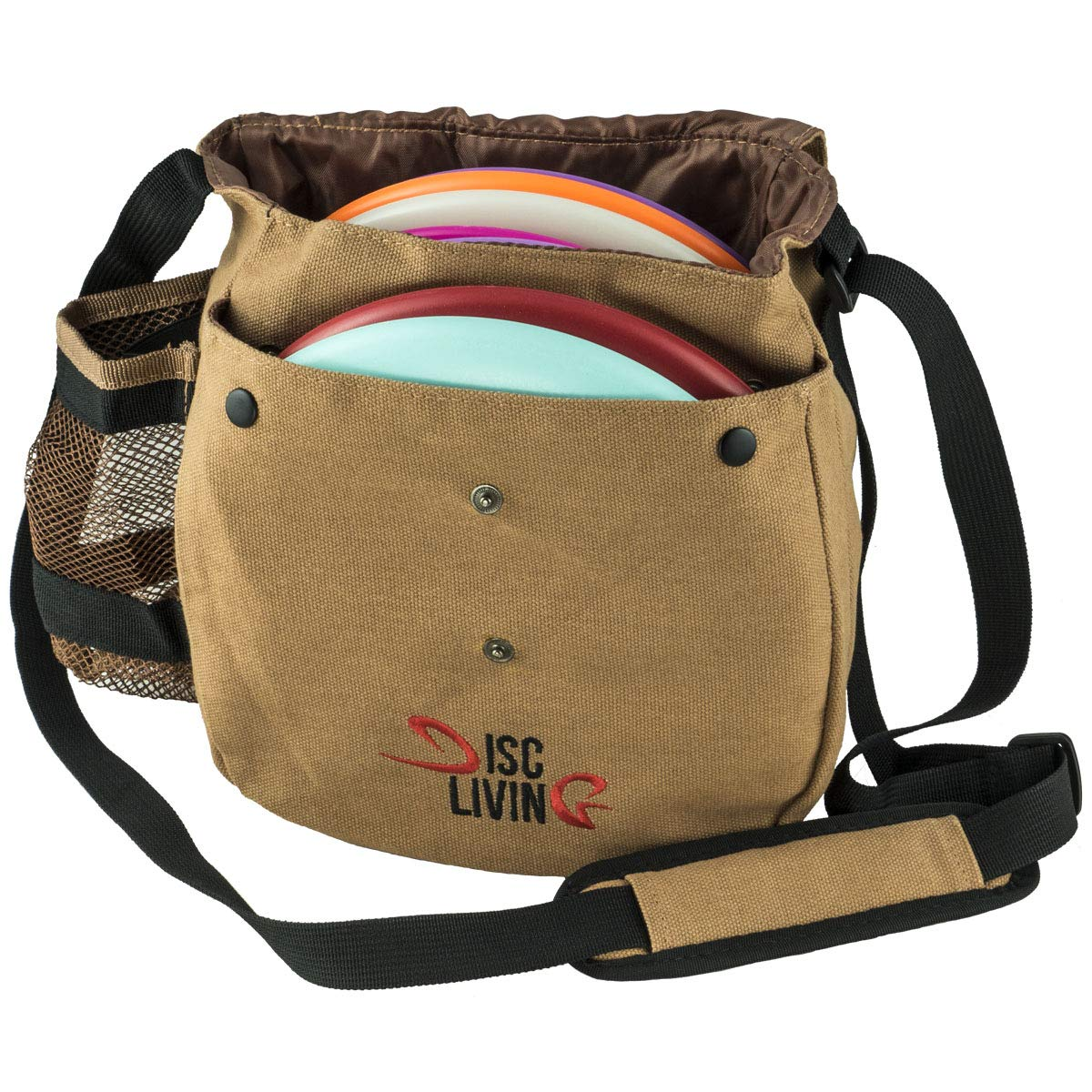 Disc Living Disc Golf Bag | Frisbee Golf Bag | Lightweight Fits Up to 10 Discs | Belt Loop | Adjustable Shoulder Strap Padding | Double Front Button Design | Bottle Holder | Durable Canvas (Brown) by Disc Living