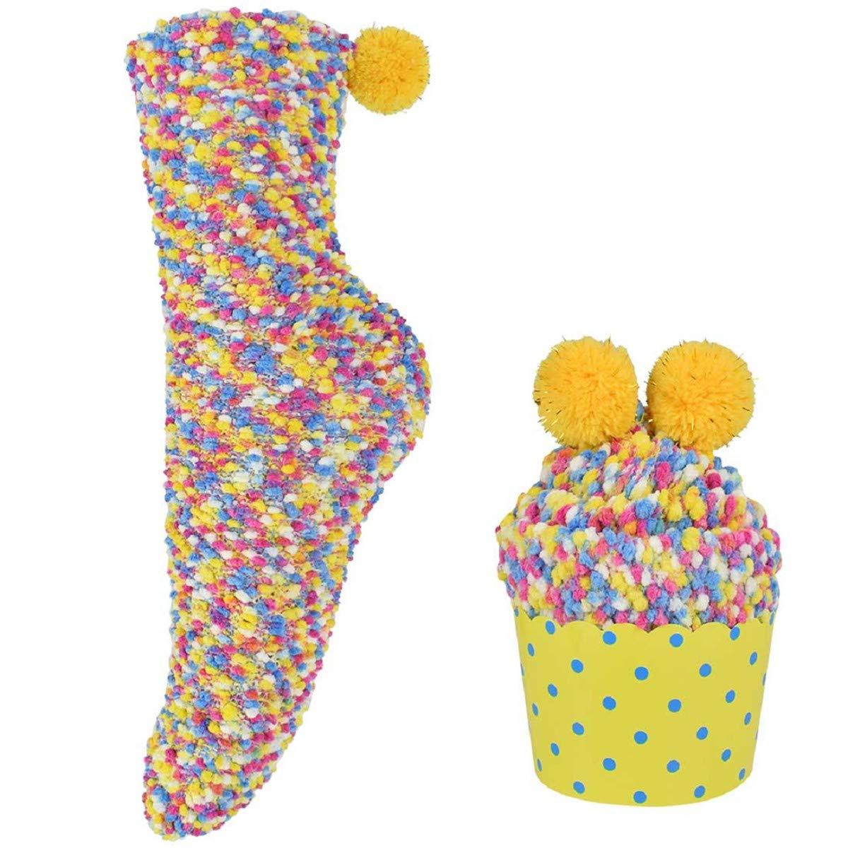 Calde pantofole da donna regalo fai da te per San Valentino 1 paio 1 paio Taglia unica con scatole regalo per cupcake comode Natale soffici e soffici calzini da letto Tuopuda super soffici