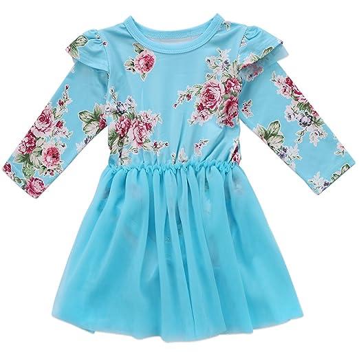 85184592e Annvivi Baby Girl Floral Tutu Dress Toddler Pleated Princess Tutu Skirt with  Tshirt Romper Top (