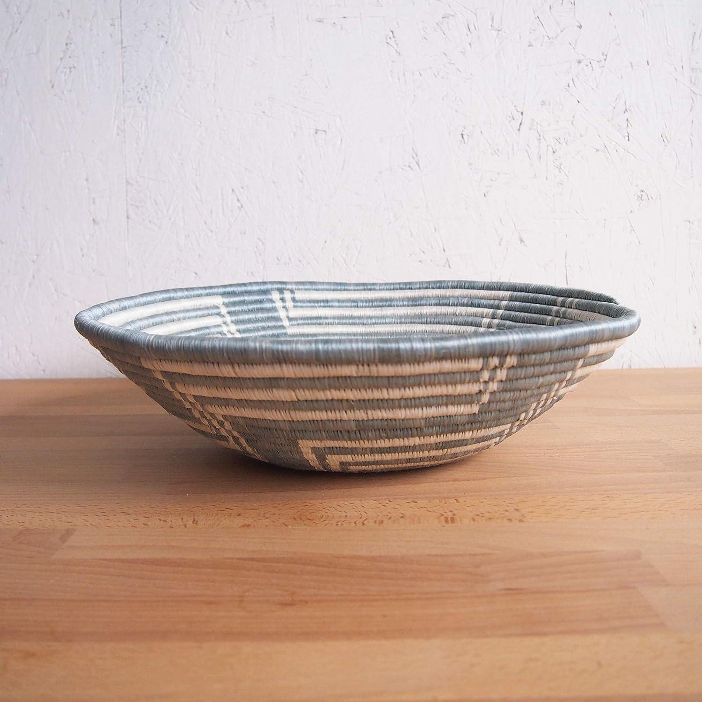 16 X-Large African Basket White Malindi//Rwanda Basket//Woven Bowl//Sisal /& Sweetgrass Basket//Blue-Gray