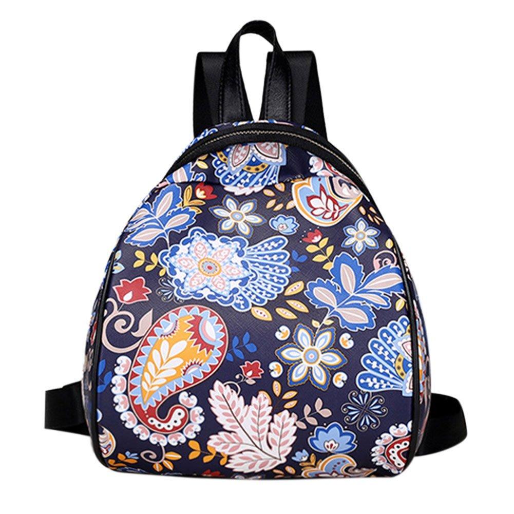 Alloet Women PU Leather Cartoon Leaves Printed Backpack Casual Mini Travel Bag