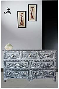 ACE CRAFTIQUE Wooden Handmade Bone Inlay Dark Grey Sideboard Chest of Drawer for Bedroom - 7 Drawers and Storage