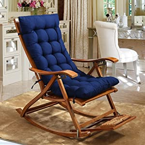OR&DK Rocking Chair Cushion, Thickened and Extended Folding Chair pad Soft high Back seat Cushion-Blue 125x48cm(49x19inch)