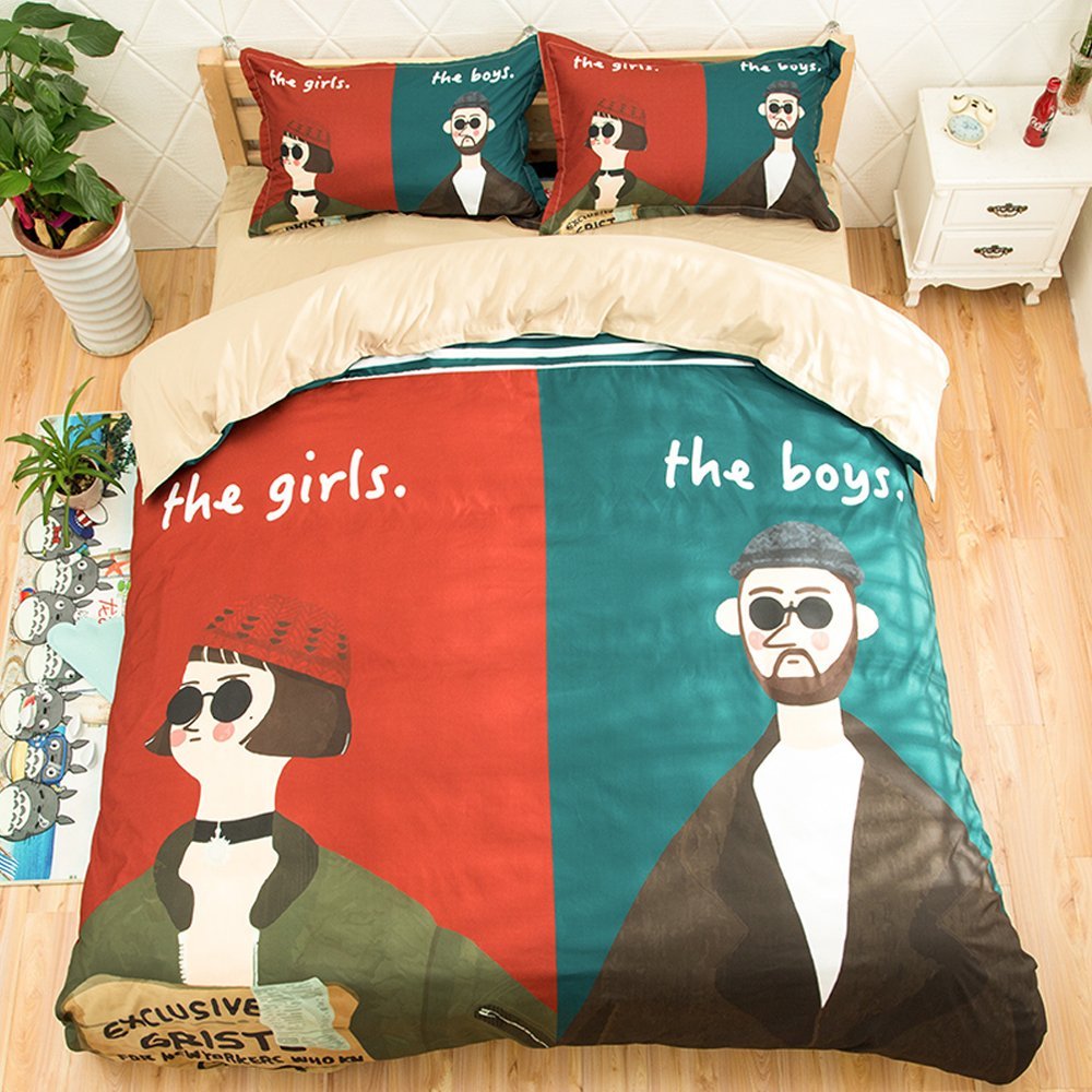Koongso 3D Uncle Girl Duvet Cover Sets Cartoon Movie Print Beddings Sets Reversible Boys Girls Pretty Duvet Cover ,Twin/Full/Queen/King Size