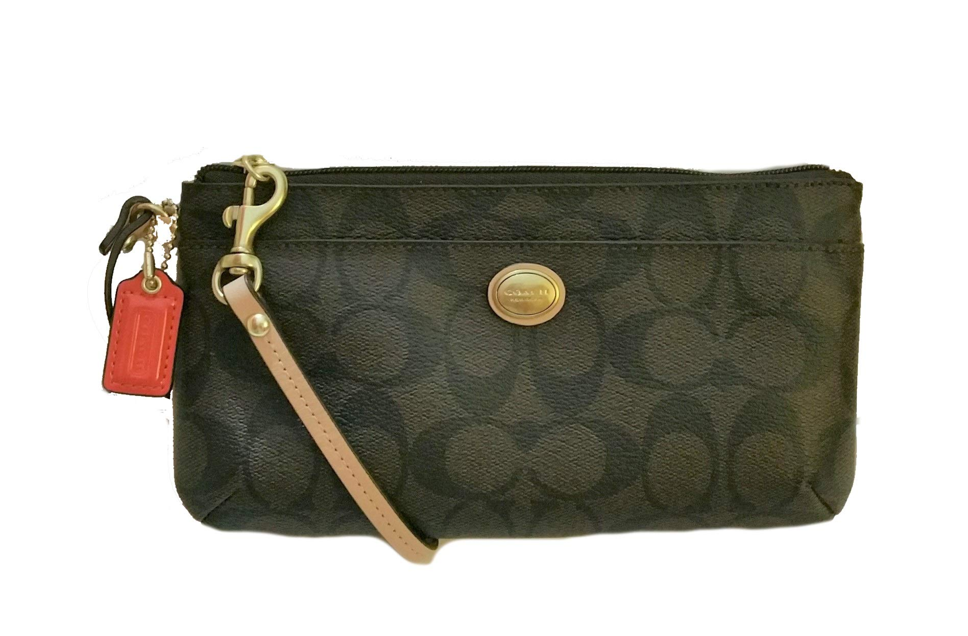 Coach Peyton Brown Tan Signature Go Wallet Wristlet 51258