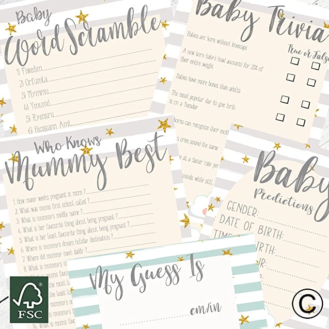 Accessor Napkin Trivia Baby Shower Game All About Celebrities