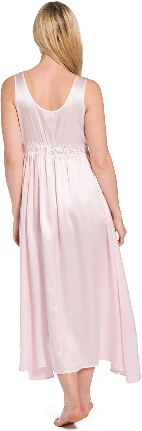 Fishers Finery Womens 100/% Silk Long Vintage Lace Nightgown