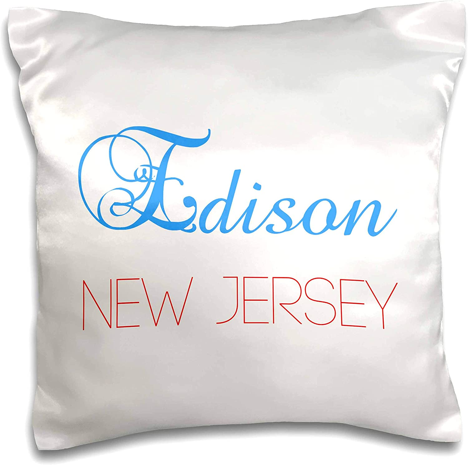 3dRose Alexis Design - American Cities Nevada-New-York - Edison, New Jersey blue, red text. Patriotic USA home town gift - 16x16 inch Pillow Case (pc_300577_1)