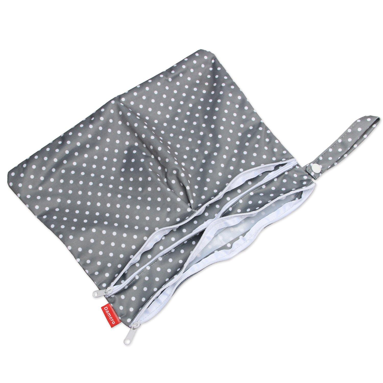 Klein, Graues Dreieck+Graue Punkte Damero 2 St/ück//Set Windeltasche mit wiederverwendbarem Stoff Wetbag Feuchtt/ücher Organiser Beutel,