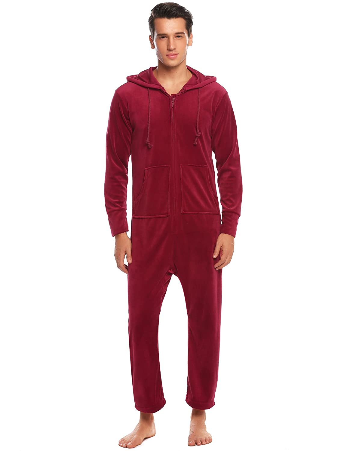 29c8ea5341 Ekouaer Mens Coral Fleece Onesie Long Sleeve Hooded Footed Jumpsuit Pajamas  One Piece S-XXL at Amazon Men s Clothing store
