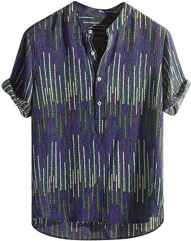 Dragon868 Camisas Estampadas etnicas Hombres Camisas de Manga Corta de Rayas Coloridas Hombres: Amazon.es: Ropa y accesorios
