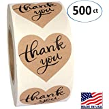 """1.5"""" Heart Shape Kraft Paper Thank You Adhesive Label, 500 Stickers per Roll, Love Shape, 1-1/2 Inch"""