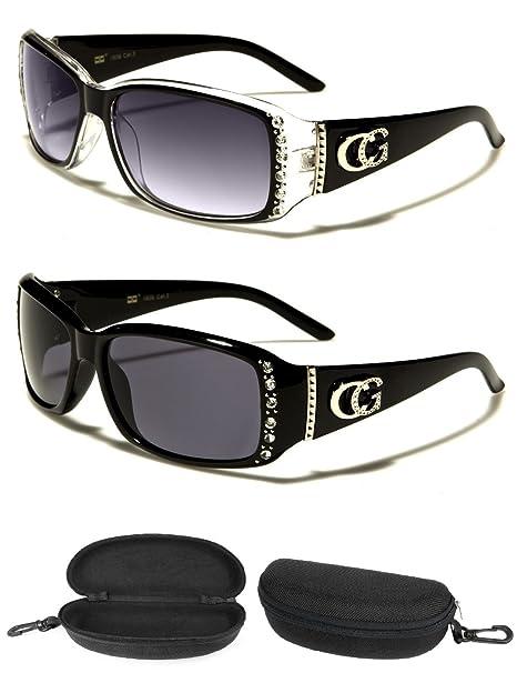 87af383a9a9 CG Eyewear 2 Pair + 1 Nylon Zipper Case Womens Rhinestone Fashion Sunglasses  (Black