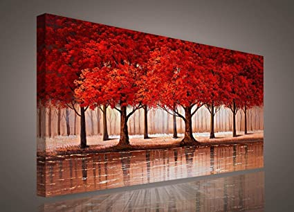 Amazon Com Red Tree Wall Art Sunset Woods Canvas Painting Pictures