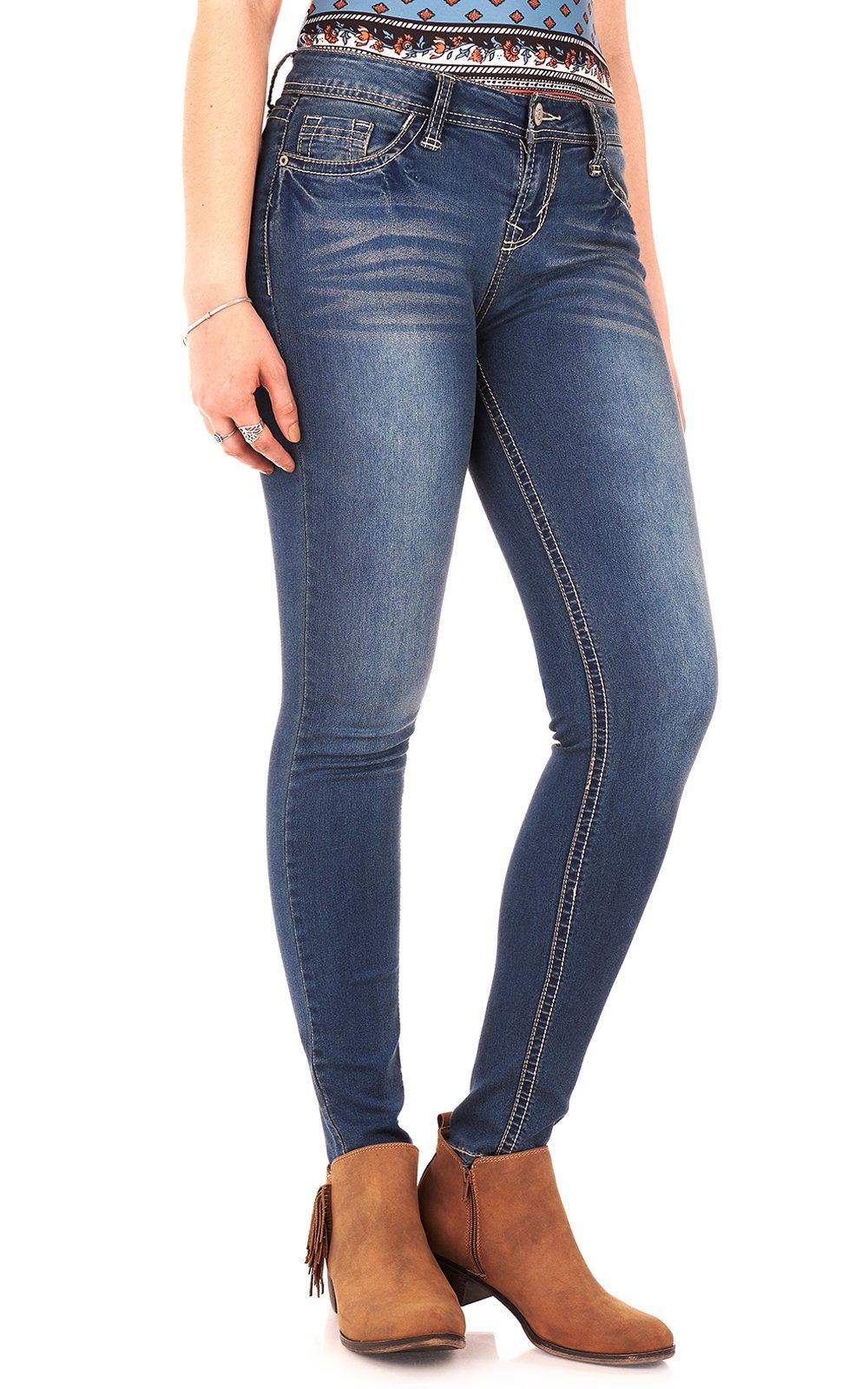 WallFlower Women's Juniors High Rise Irresistible Denim Jegging in Varsity Blue Size: 15 Short