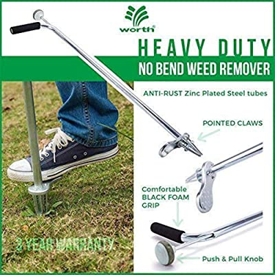 "Worth Garden Stand-Up Weeder and Root Removal Tool - Ergonomic Weed Puller with A 33"" Tall Handle and Foot Pedal - Easy Weed Grabber Made from Rust-Resistant Steel - 3 Year Warranty : Garden & Outdoor"