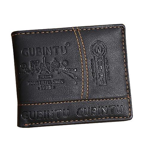 Internet Hommes Entreprise Porte-monnaie PU en cuir portefeuille bifold Noir 11.5 * 9.5 * 1.5cm