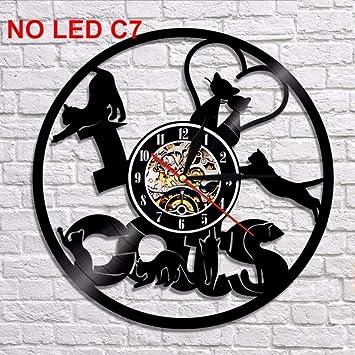 Dwthh Reloj De Pared Diseñado por El Disco De Vinilo del Gato Decoración Casera Única De La Habitación del Hogar Novia O Novio (Gatos): Amazon.es: Hogar