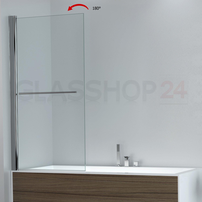 DW1 Klarglas 800x1400mm glasshop24 Badewannen Duschabtrennung