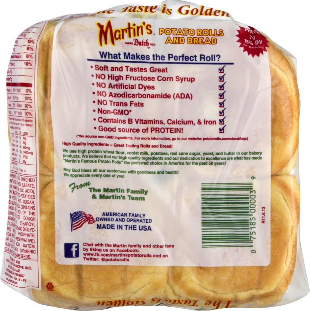 Martins Potato Sandwich Rolls- 8pk 15 oz (3 bolsas): Amazon ...