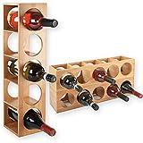 Torrex 30543Étagère à vin en bois de bambou stapelbares Bouteille de vin étagère pour 5bouteilles de vin, couché ou debout, extensible, Bois, 1 Regal