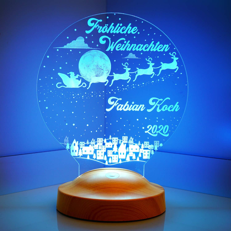 Weihnachtsmann Weihnachtsgeschenke Nachttischlampe Personalisierbar Silvester deko mit eigenem Text in 3D Motiv Lampe Gravieren Geschenkbox