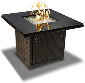 Outland Living Series 410 Brown 36-Inch Outdoor Propane Gas Fire Pit Table, Black Tempered Tabletop w/Arctic Ice Glass Rocks and Resin Wicker Panels, Espresso Brown/Square