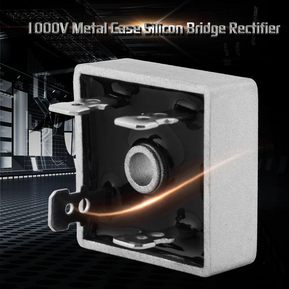 10 piezas Rectificador de puente de silicona de caja met/álica CC a CC KBPC3510 35A 1000V rectificador de puente completo monof/ásico