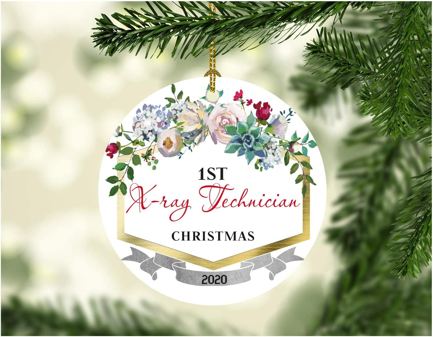 "First Christmas Ornaments 2020 X-ray Technician New Job Gift Ideas Christmas Decorations For The Home Congrats On New Job Good Luck Present Ideas Family Funny Xmas 3"" MDF Plastic White"
