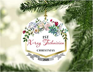 """First Christmas Ornaments 2020 X-ray Technician New Job Gift Ideas Christmas Decorations For The Home Congrats On New Job Good Luck Present Ideas Family Funny Xmas 3"""" MDF Plastic White"""