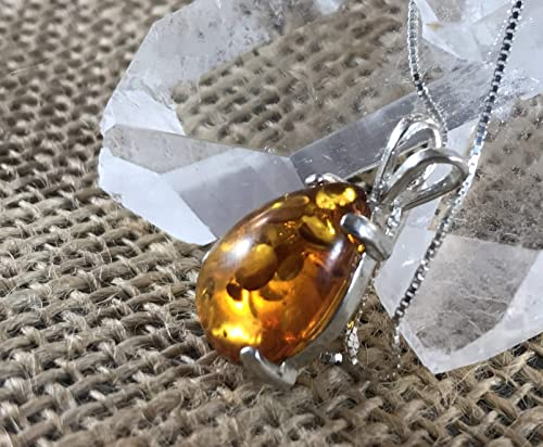 Clear Amber Amulet Pendant Tumble Stone Amulet Necklace on adjustable cord Amber Jewelry Sunny Charm Jewelry  Metal Free Necklace