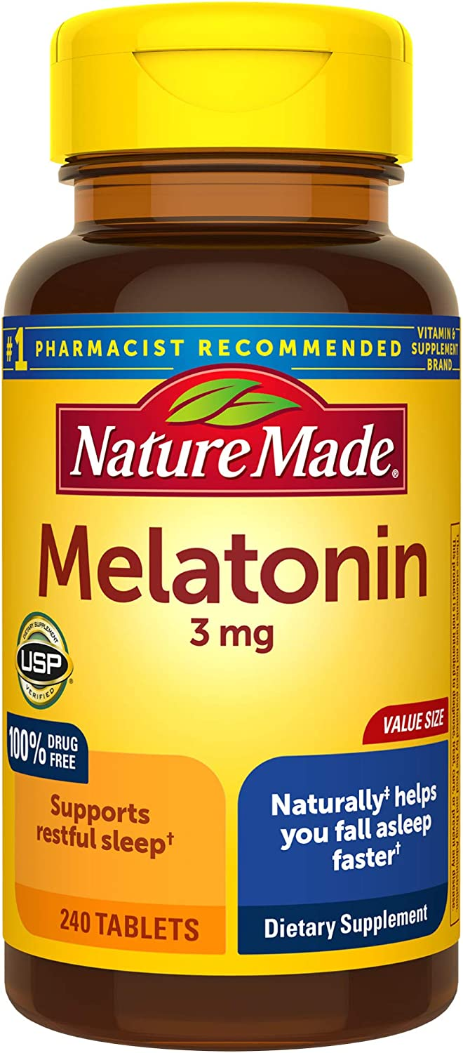 Nature Made Melatonin 3mg Tablets, 240 Count for Supporting Restful Sleep† (Packaging May Vary): Health & Personal Care