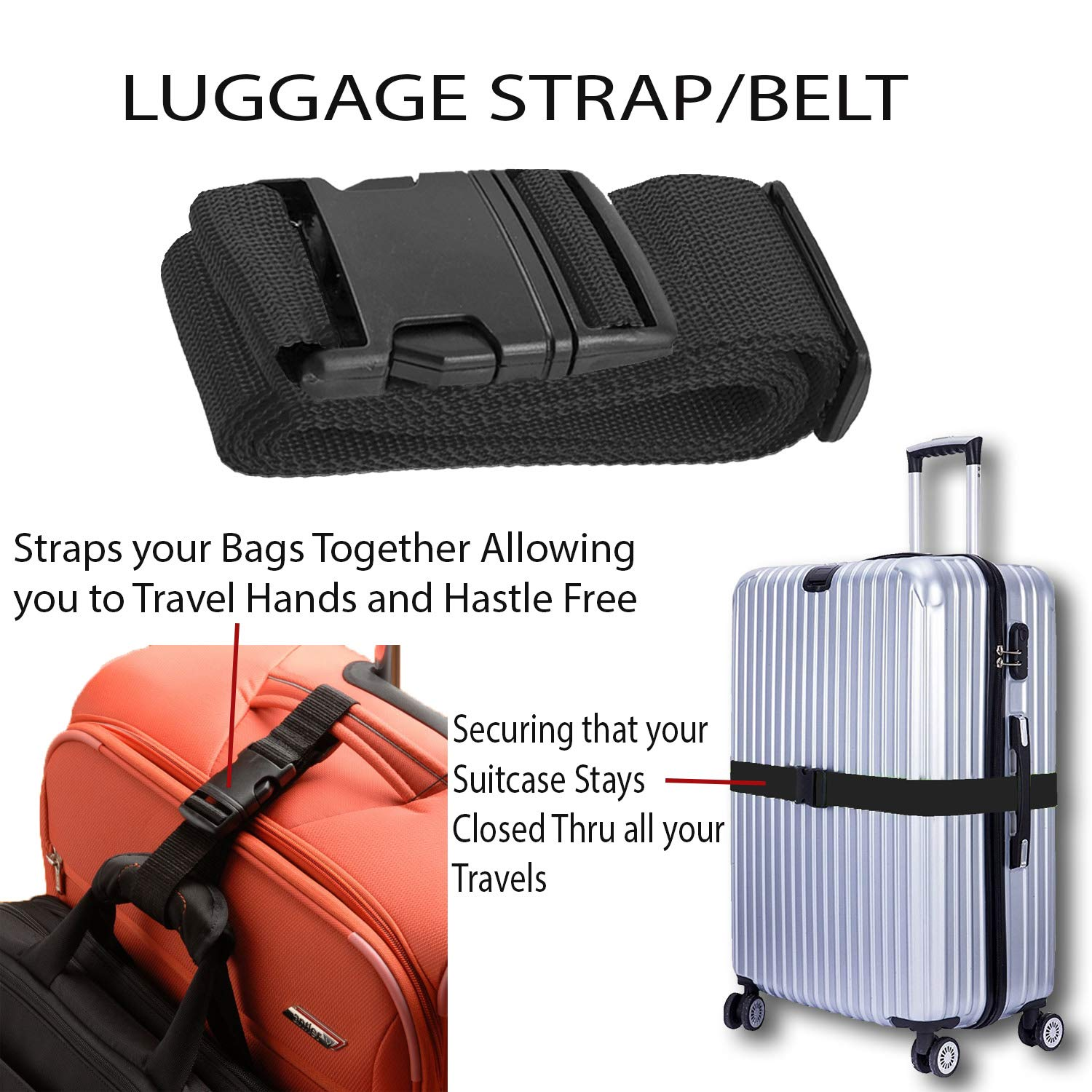 2 Pack Travel Case Accessories Black Luggage Belts Suitcase Straps Adjustable and Durable