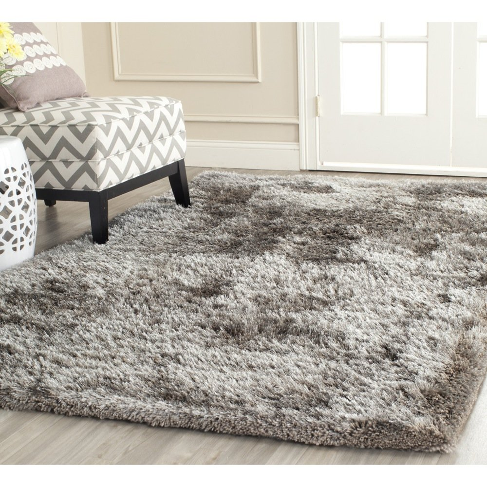 Amazon.com: Safavieh South Beach Collection SBS562B Handmade Silver  Polyester Area Rug (5u0027 X 8u0027): Kitchen U0026 Dining
