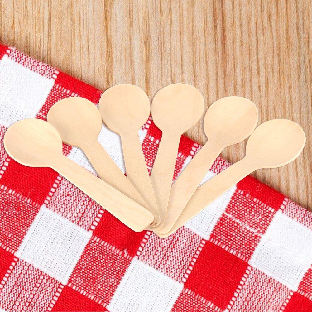 10cm Cake Tea Coffee Wooden Spoon Mini Disposable Spoon 100 Pieces Wood Spoons