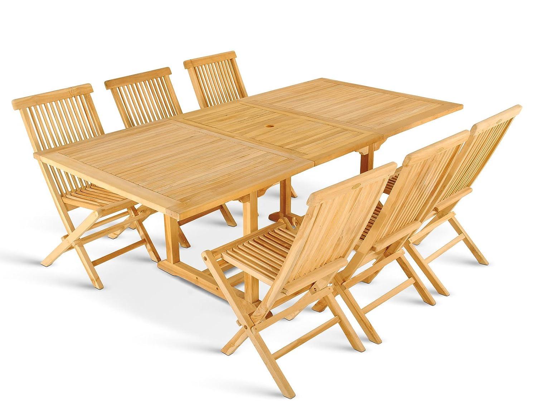 XXS® Gartengruppe Caracas aus Teak-Holz, 7 teilig, Garten-Tisch mit Schirmloch und 6 x Klapp-Stuhl Menorca, Terrassen-Möbel aus Massiv-Holz, Gartenmöbel Oberfläche geschliffen