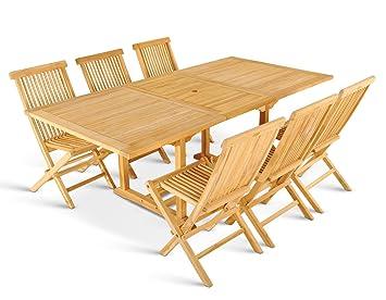Delightful XXS® Möbel Gartenmöbel Set Caracas 7tlg Teak Holz Pflegeleicht Holz Tisch  Kuba Ausziehbar Mit Schirmloch