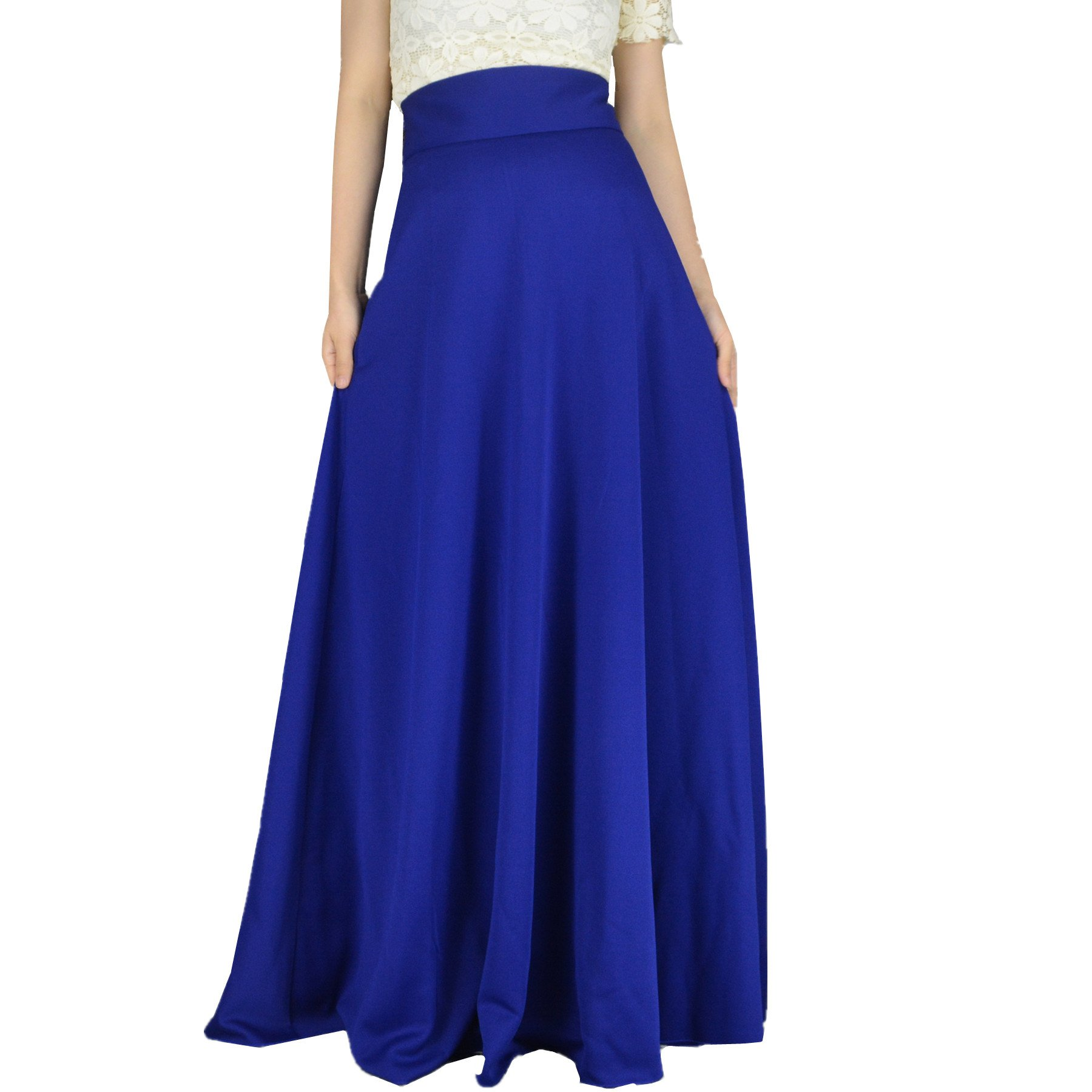 YSJERA Women's High Waist A-Line Pleated Solid Vintage Swing Maxi Skirts Midi Skirt Party (S, Blue Long)