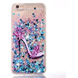 UCLL iPhone 7 Plus Glitter Case, iphone 8 plus case, High Heeled Moving Bling Glitter Floating Cover for iPhone 7 Plus 8 plus with a Screen Protector