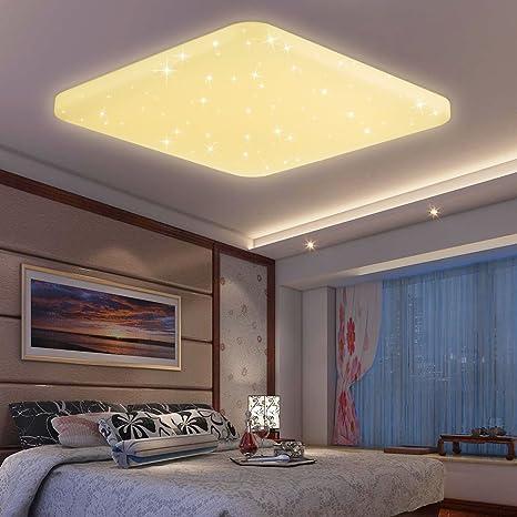 VINGO® LED Deckenleuchte Sternenhimmel Effekt 60W Schlafzimmerleuchte  warmweiß(2700K-3000K) Kinderzimmer Schlafzimmer Decken eckig starlight  Lampe ...