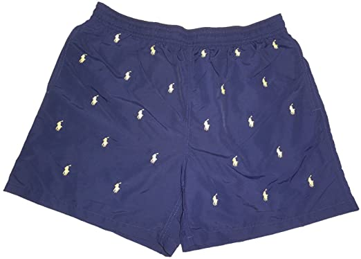 Polo Ralph Lauren Mens All Over Pony Swim Trunks Navy with Yellow Ponys ( Small)
