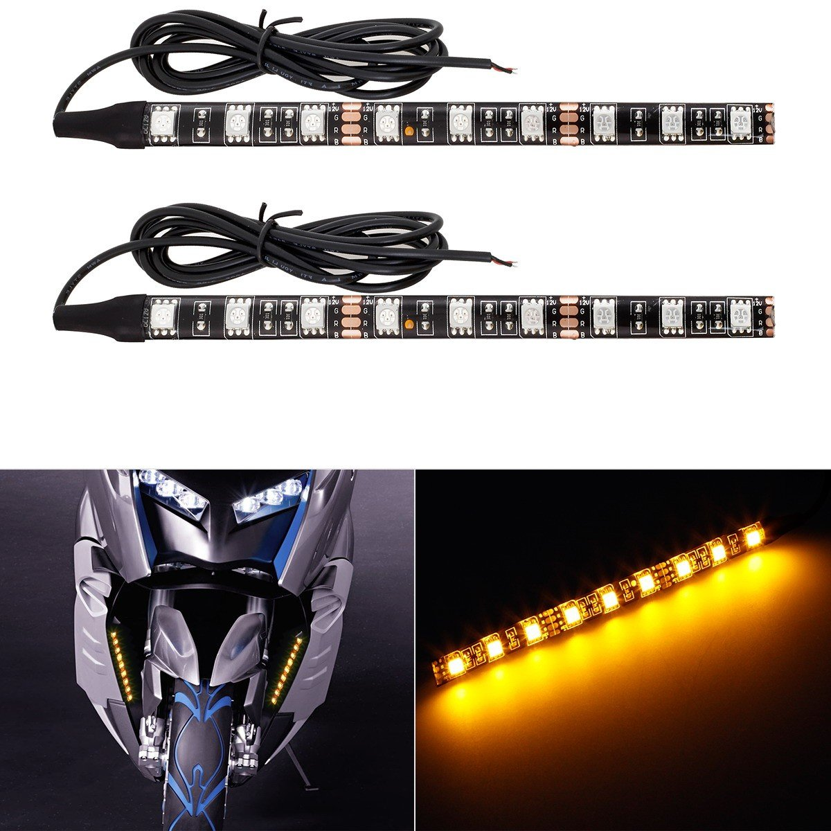 Partsam Universal LED Strip for Motorcycle License Plate Tail Brake Stop Turn Signal Light Strip 32LED 8' Flexible Third Brake Light for Motorbikes Harley Davidson ATV Scooters