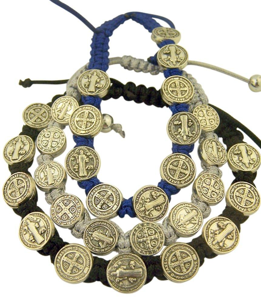 Saint Benedict Evil Protection Medal on Adjustable Cord Bracelet, Set of 3, 8 Inch Catholic Brands UK_B0143IEPUU